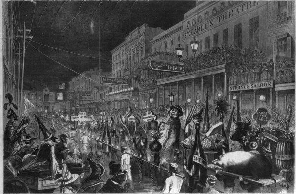 Desfile de la Mistick Krewe Of Comus en 1867. Ilustración: Library Of Congress
