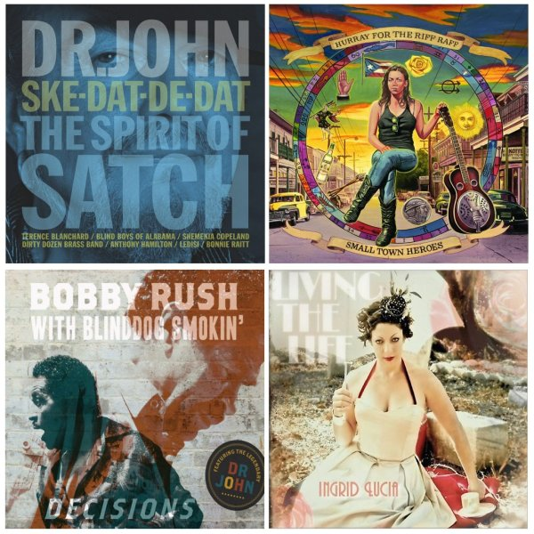 Portadas de los álbumes de Dr. John, Hurray For The Riff Raff, Bobby Rush e Ingrid Lucia