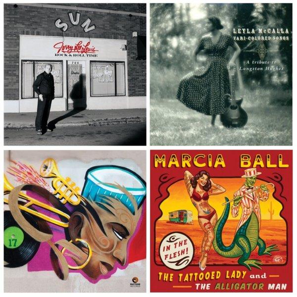 Portadas de los álbumes de Jerry Lee Lewis, Leyla McCalla, Nicholas Payton y Marcia Ball