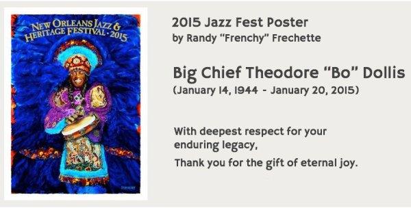 El cartel de la edición 2015 del New Orleans Jazz Fest, con Bo Dollis de protagonista