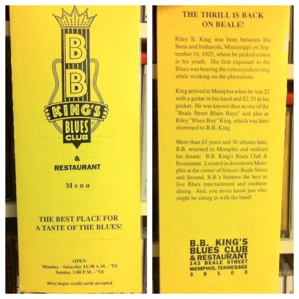 La carta del B.B. King's Blues Club de Memphis