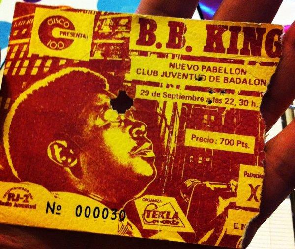La entrada de mi primer concierto de B.B. King en 1981