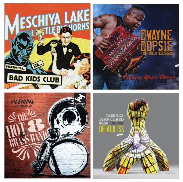 Portadas de los álbumes de Meschiya Lake & The Little Big Horns, Dwayne Dopsie & The Zydeco Hellraisers, The Hot 8 Brass Band y Terence Blanchard featuring The E Collective