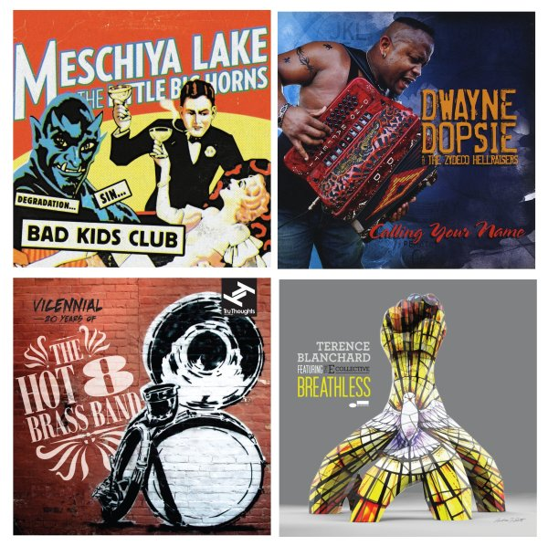 Portadas de los álbumes de Meschiya Lake & The Little Big Horns, Dwayne Dopsie & The Zydeco Hellraisers, The Hot 8 Brass Band y Terence Blanchard featuring The E Collective