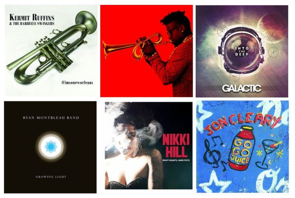 Portadas de los álbumes de Kermit Ruffins & The Barbecue Swingers, Christian Scott aTunde Adjuah, Galactic, Ryan Montbleau Band, Nikki Hill y Jon Cleary