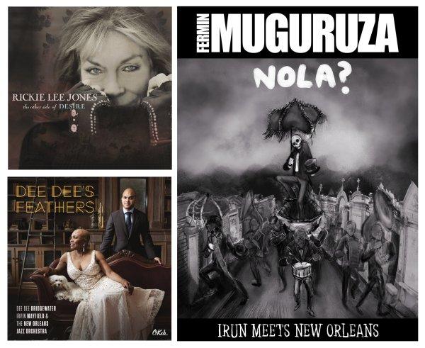 Portadas de los álbumes de Rickie Lee Jones, Fermin Muguruza y Dee Dee Bridgewater, Irvin Mayfield & The New Orleans Jazz Orchestra