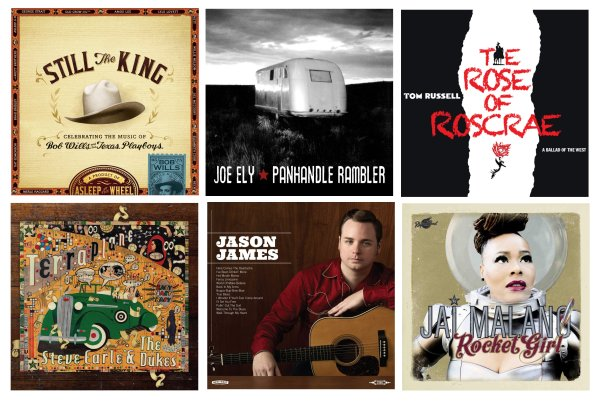 Portadas de los álbumes de Asleep At The Wheel, Joe Ely, Tom Russell, Steve Earle, Jason James y Jai Malano