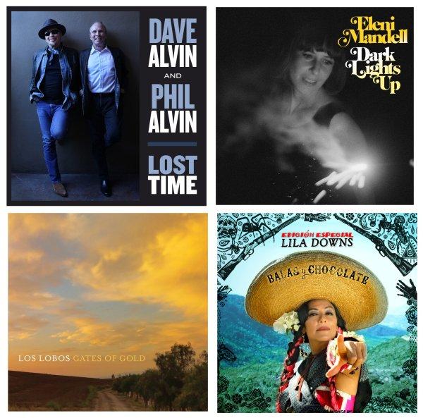 Portadas de los álbumes de Dave & Phil Alvin, Eleni Mandell, Los Lobos y Lila Downs