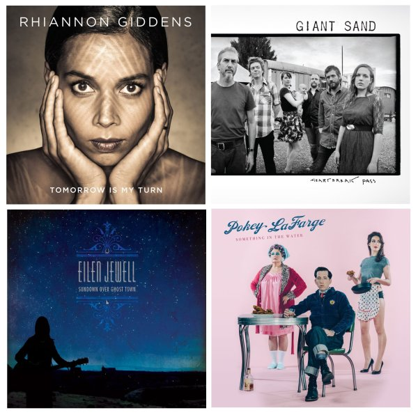 Portadas de los álbumes de Rhiannon Giddens, Giant Sand, Eilen Jewell y Pokey LaFarge