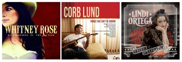 Portadas de los álbumes de Whitney Rose, Corb Lund y Lindi Ortega